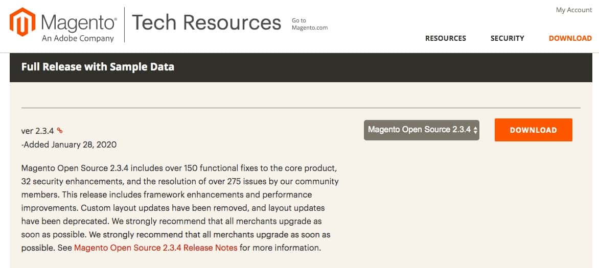 The Magento Tech Resources downloads page.
