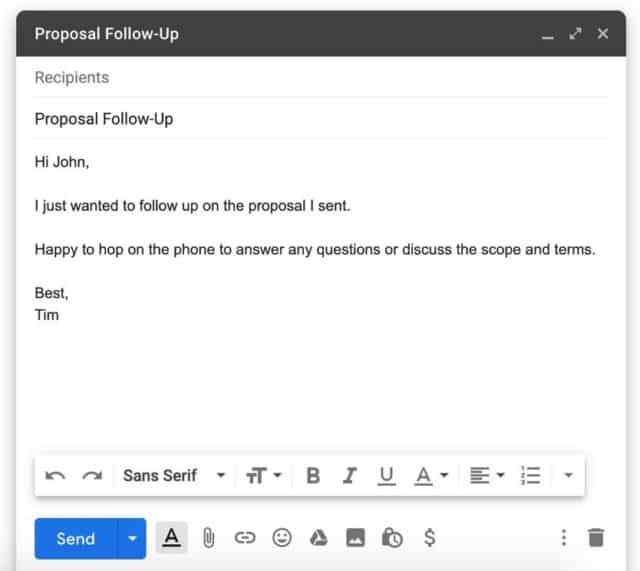 Proposal Follow-Up in Gmail