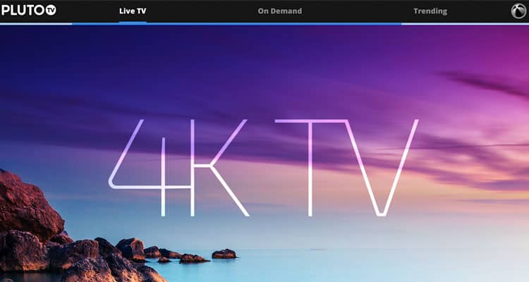 An example entertainment site: Pluto TV.