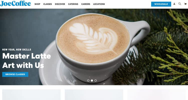 Example of the small business type of website. The Joe Coffee website.