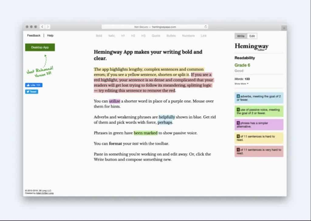 The Hemingway Editor is a free tool that makes it easy to ensure your copy is easy to digest.