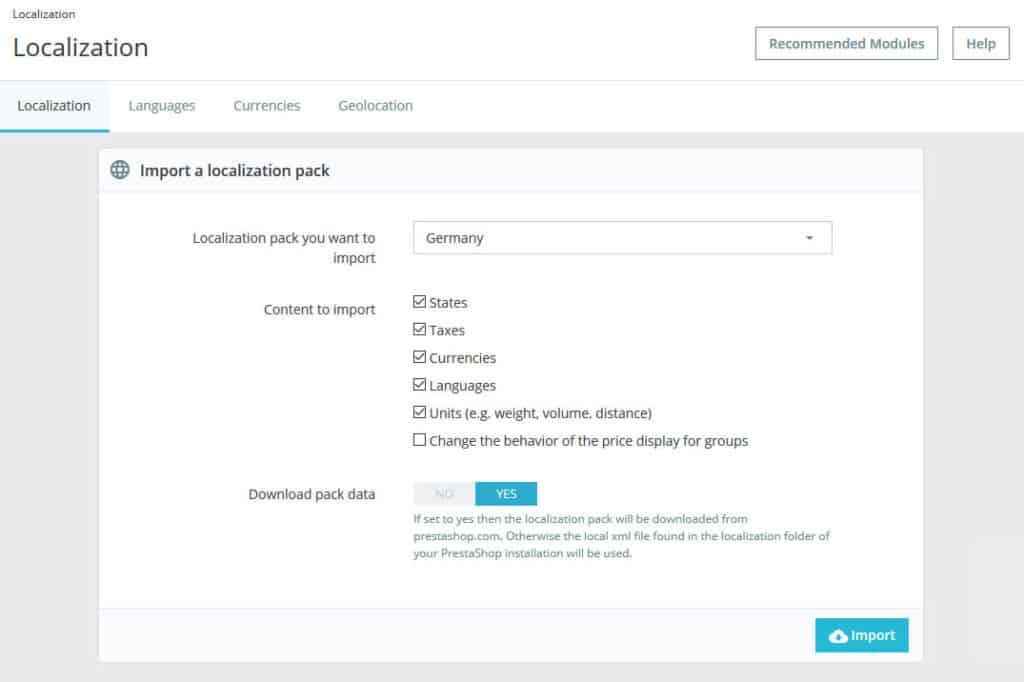 localization menu
