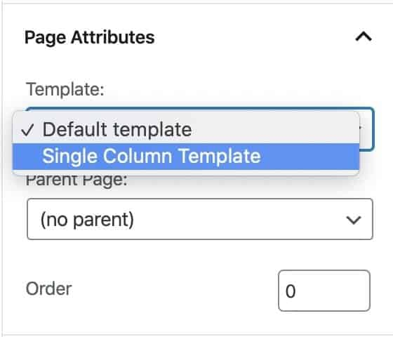 page template dropdown