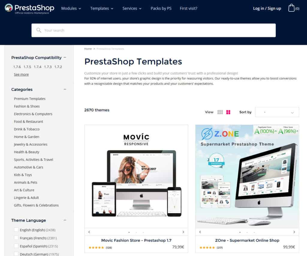 prestashop template shop