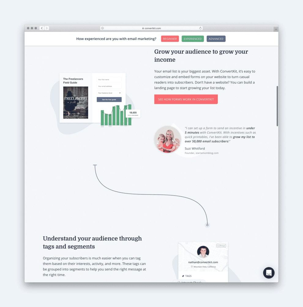 Convertkit include testimonials and calls to action alongside their images.