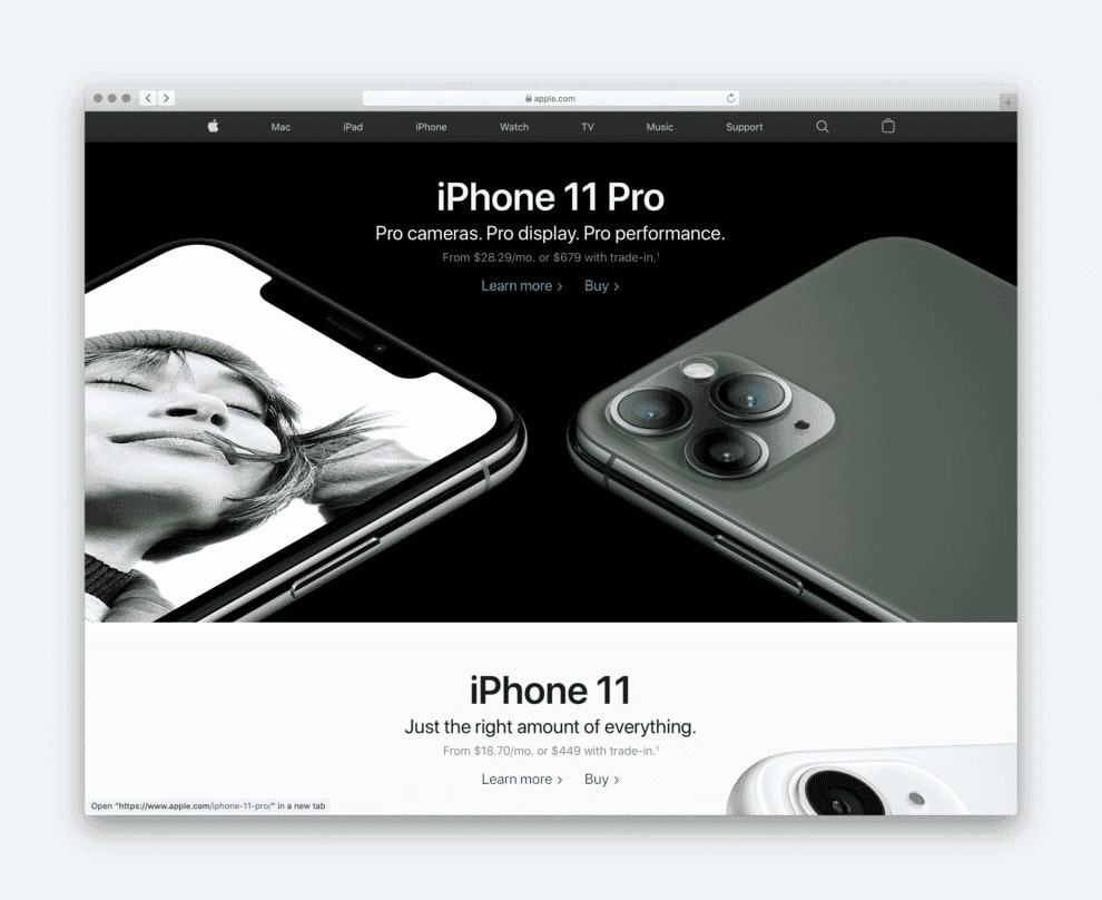 Apple make good use of the classic hero image.