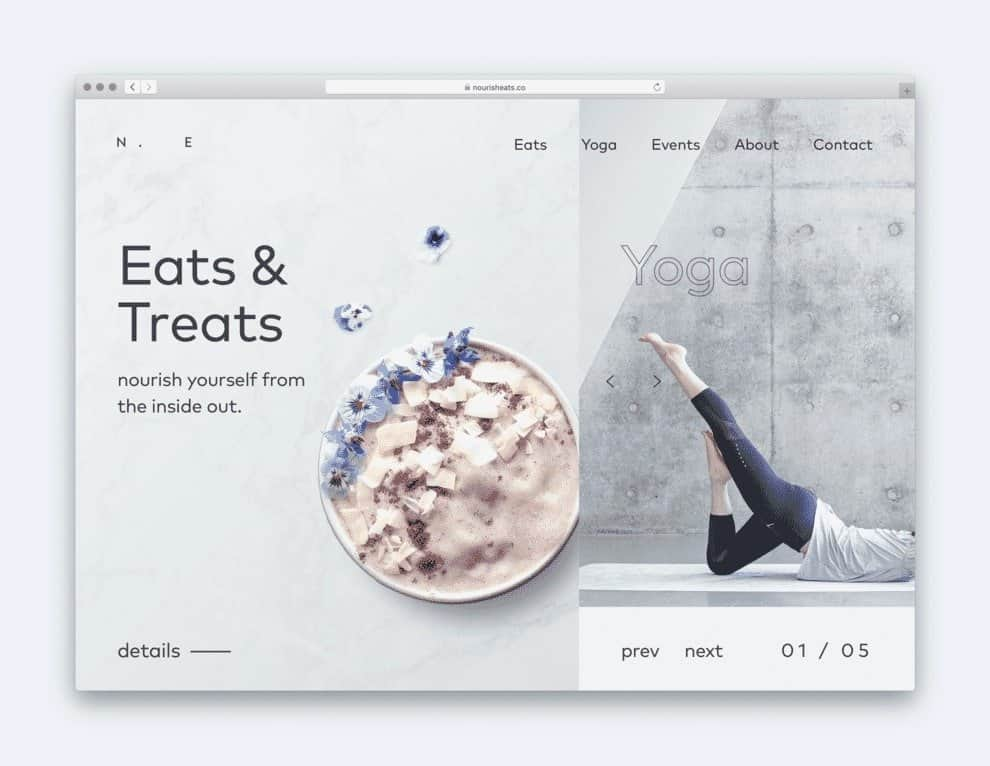 Nourish Eats uses this layout approach to expose secondary content more prominently.