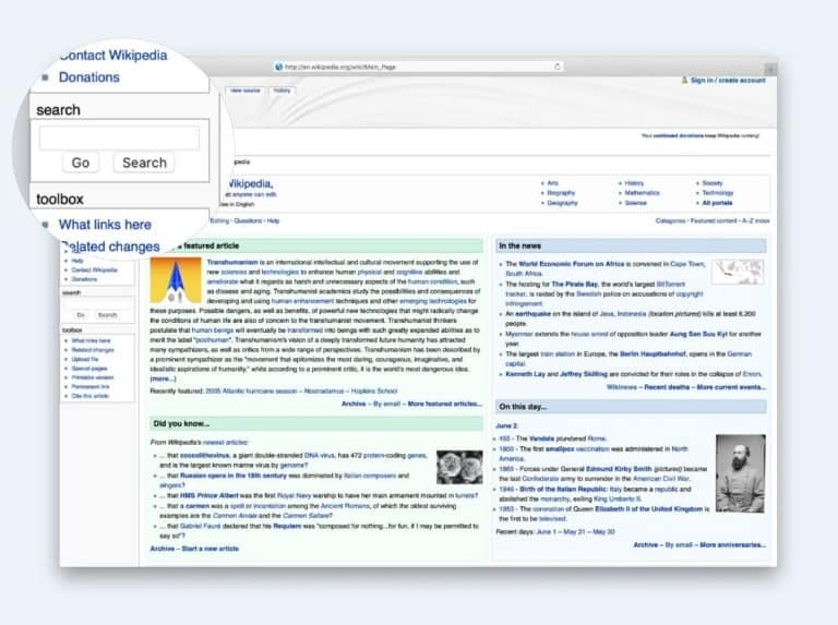 Wikipedia seach example