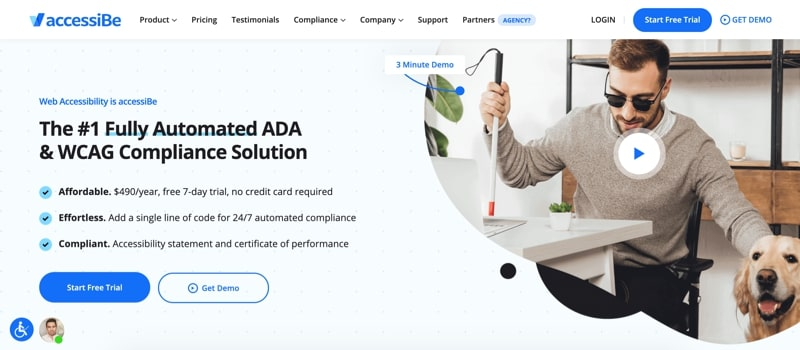 accessiBe homepage example