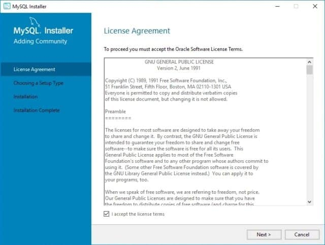 Install MySQL Windows