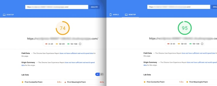 Example Google site speed test for benchmarking site speed