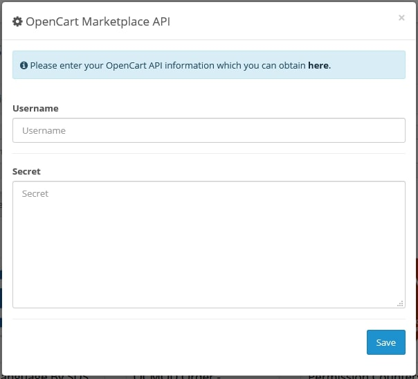 insert opencart api information