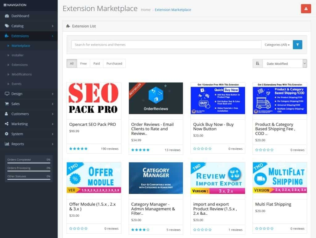 opencart extension marketplace in back end