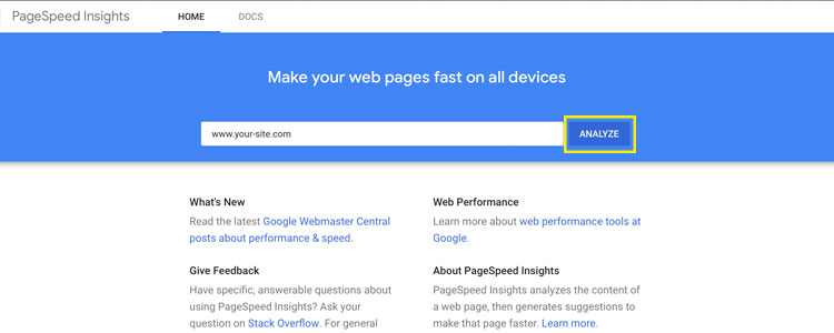 Google site speed test for benchmarking website speed