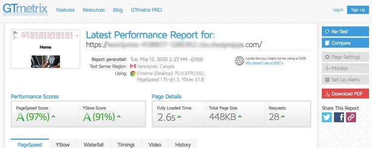 GTmetrix site speed test tool example result before WordPress optimization