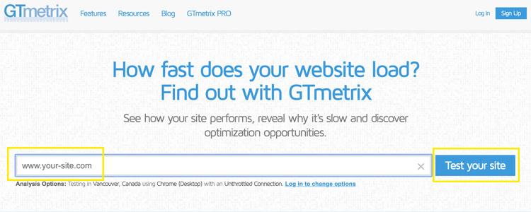 GTmetrix website for benchmarking website speed before WordPress optimization strategies are applied