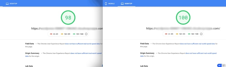 New Google site speed test after WordPress optimization strategies were applied