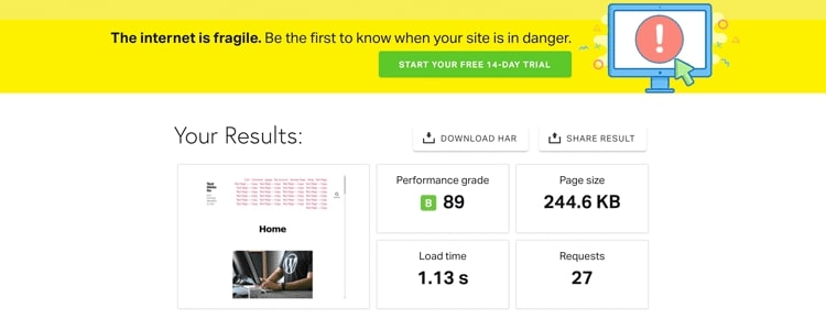 Example site speed test results for benchmarking site speed
