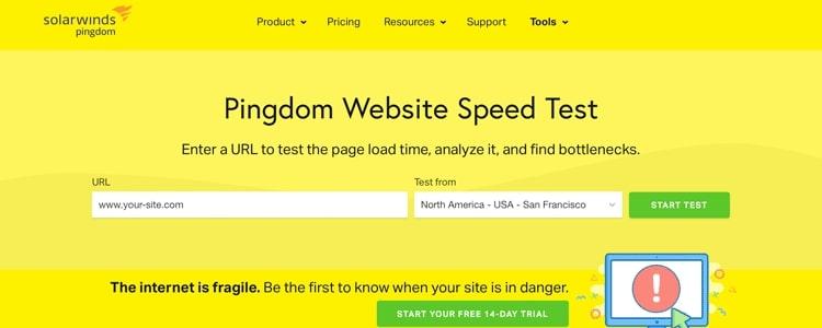 Pingdom site speed test tool for benchmarking website speed before applying WordPress optimization strategies