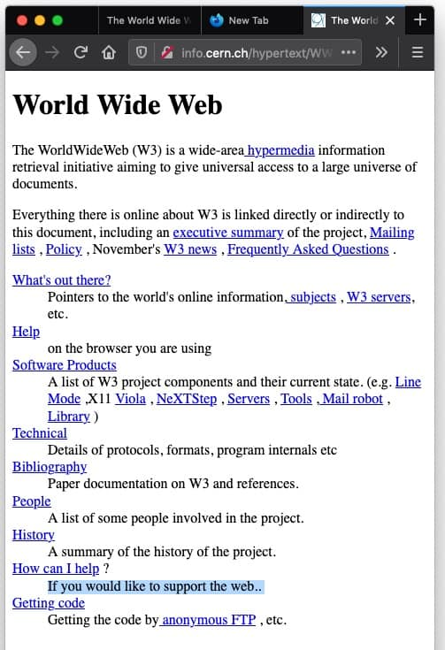 World Wide Web first webpage in narrowed view