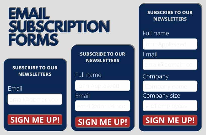 Email subscription forms examples
