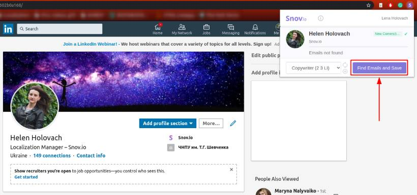 Find emails on LinkedIn personal profile with Snovio