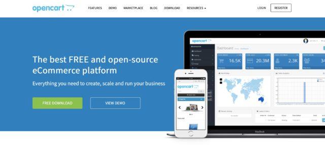 OpenCart homepage screenshot