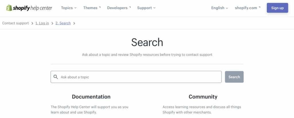 Shopify customer support help center screenshot