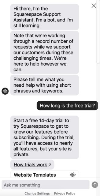 SquareSpace live chat support example