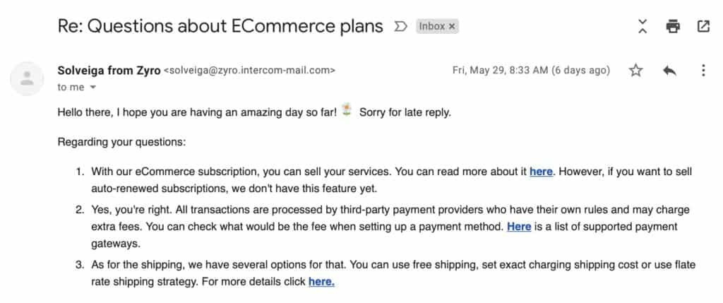 Zyro email support example
