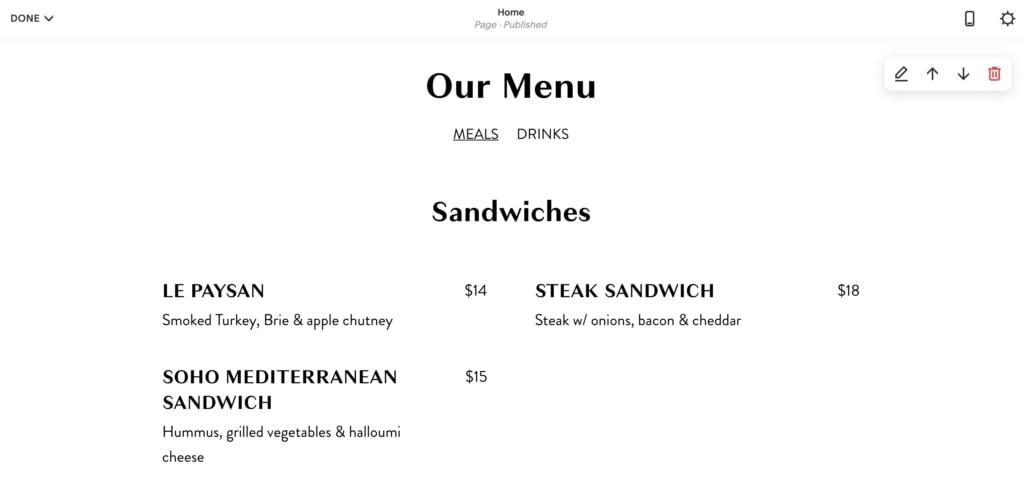 menu demo