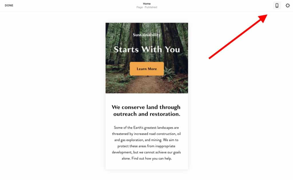 How to use Squarespace: mobile preview