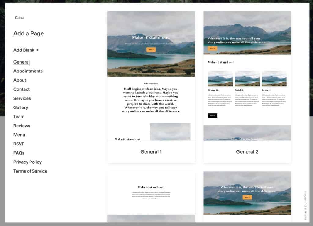 How to use Squarespace: choose from page layouts