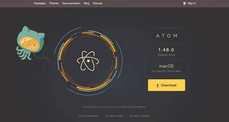 The website for the Atom text editor for HTML.