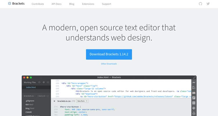 Brackets HTML düzenleyicisinin web sitesi.