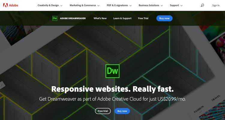 En iyi HTML düzenleyicilerinden biri olan Dreamweaver.