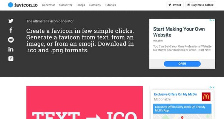 The Favicon.io free favicon generator
