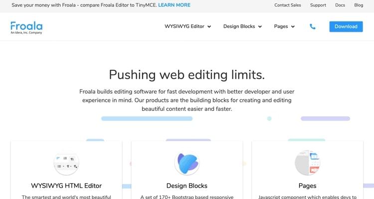 Bir HTML WYSIWYG editörü olan Froala'nın web sitesi.