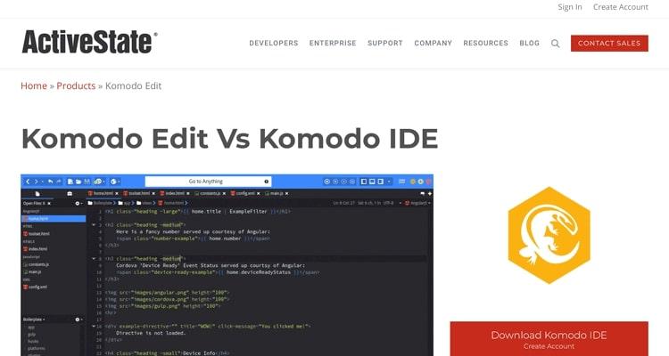 HTML web sitesi için Komodo Edit metin editörü.