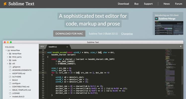Sublime Text 3 web sitesi, HTML metin editörü.