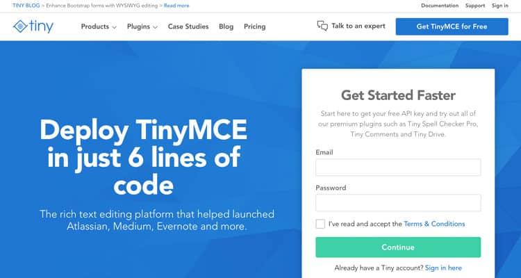 Bir HTML WYSIWYG editörü olan TinyMCE Editor için web sitesi.