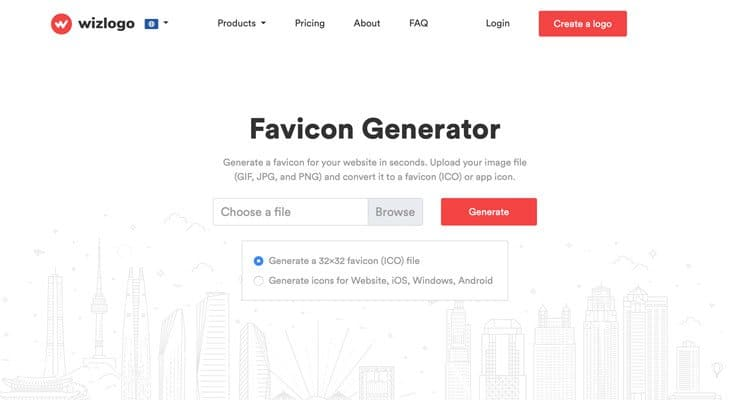 The Wizlogo free favicon generator to create favicon icons
