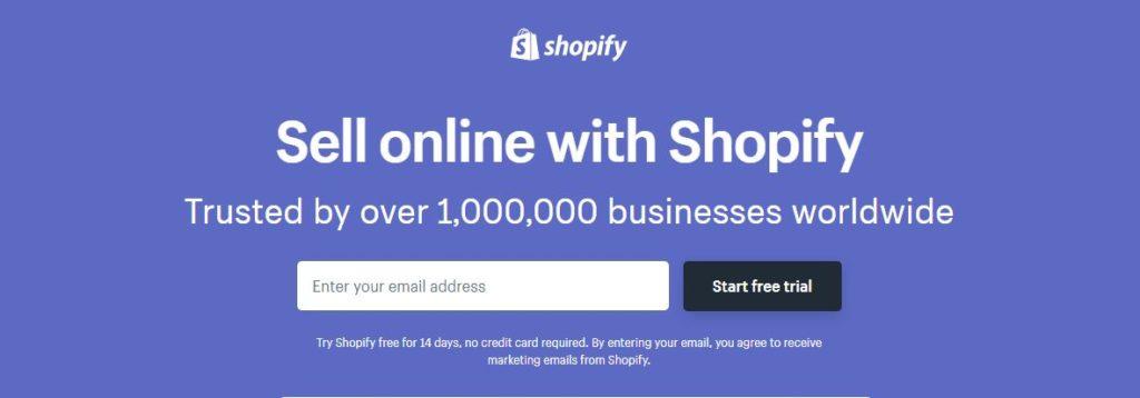 Shopify trial screenshot