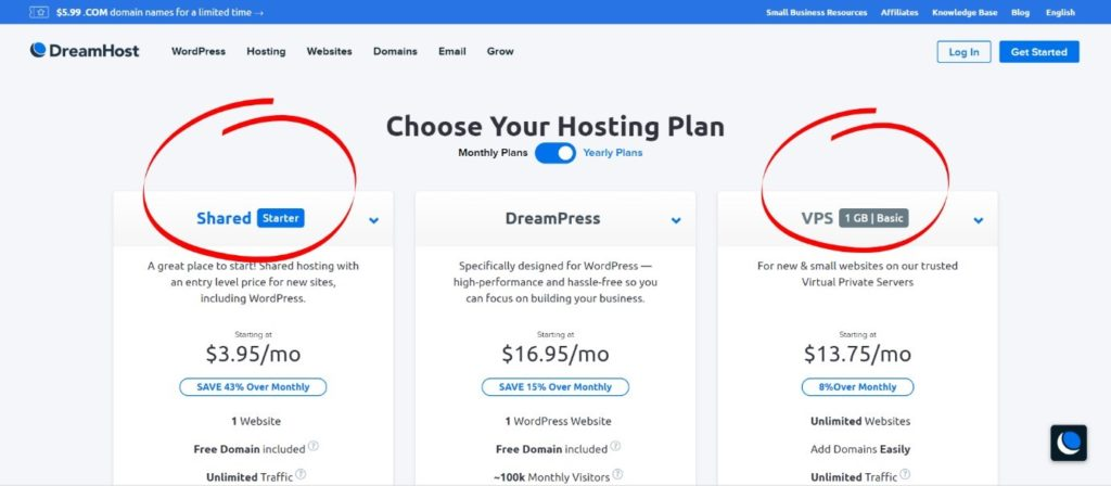 choose your hosting plan