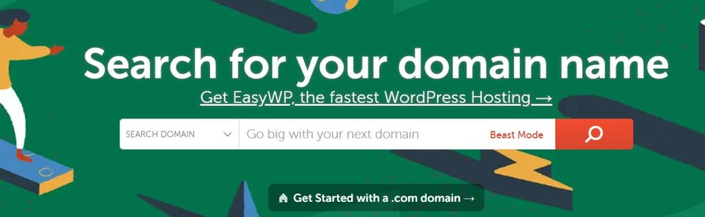 NameCheap search for a domain name