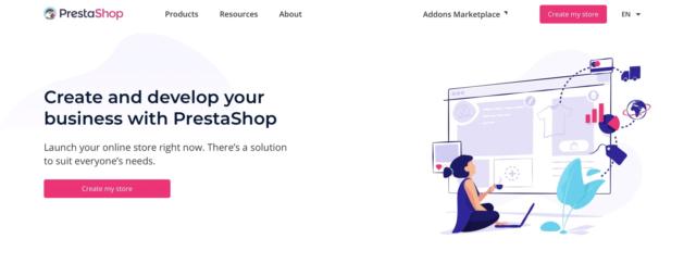 PrestaShop homepage screenshot