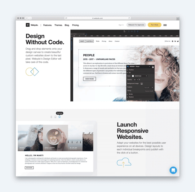 Webydo alternate text and imagery in different content blocks down its homepage.