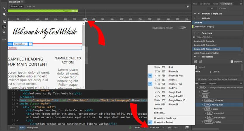 create media queries via shortcuts in dreamweaver
