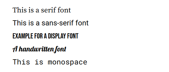 custom font category examples