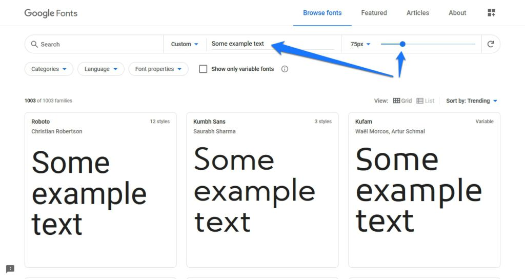 customize font preview in google fonts